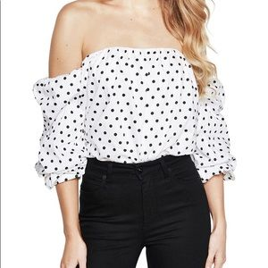 NEW Bardot off shoulder polka dot blouse